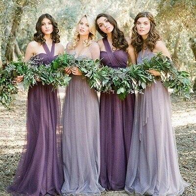 Long convertible purple cheap tulle off-shoulder soft simple 2016 hot sale on sale bridesmaid dress for women PD160044