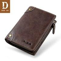 DIDE Genuine Leather Men's Wallet Short Vertical Wallet Male Brand Vintage Design Zipper Coin Purse Card Holder Dropshipping