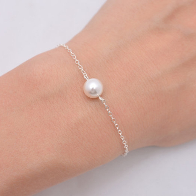 Bracelet Simple Pearl Imitation Bead Gold Chain Bracelets For Women Sh006