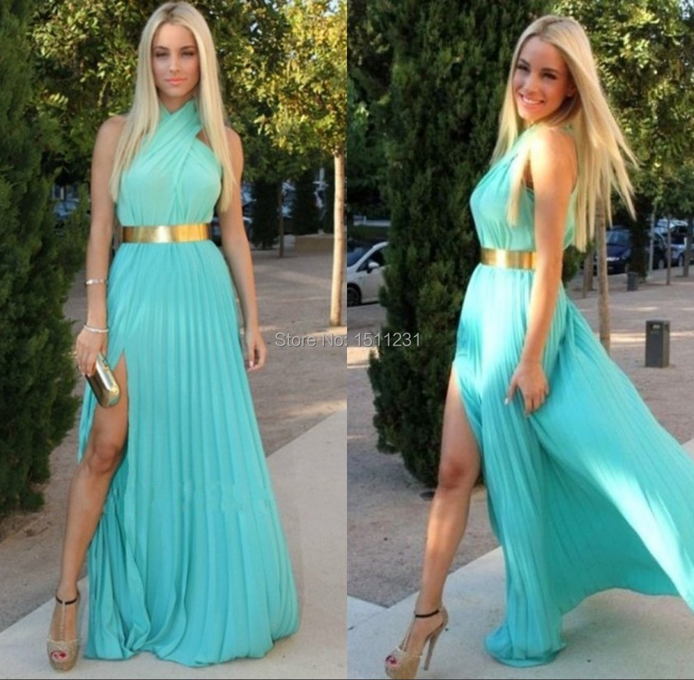 Modest Turquoise Blue Halt Chiffon Prom Dress With Golden Belt ...