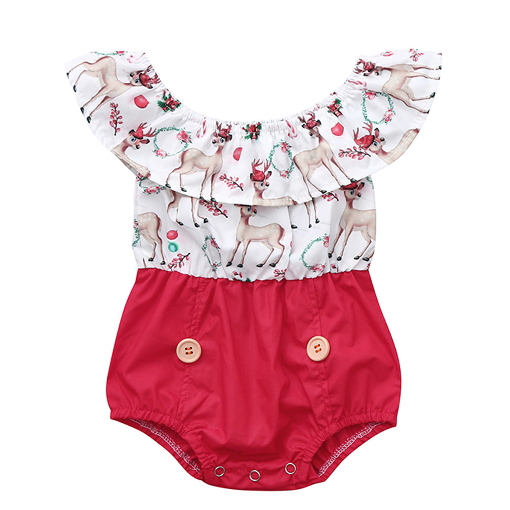 12M-5T Christmas   Romper   Kid Baby Girl Xmas Sister Clothes Deer Cartoon Cute Lace Party Dress Outfits Drop Shipping