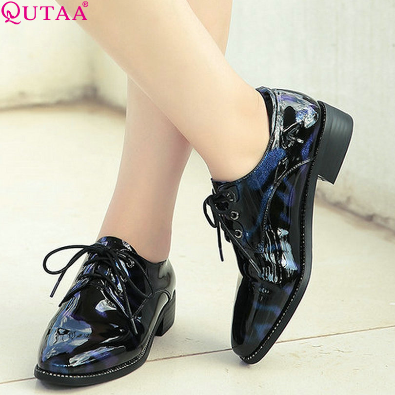 ФОТО QUTAA Blue Women Pumps Square Low Heel Patent Leather Lace Up Pointed Toe Platform Autumn Ladies Wedding Shoes Size 34-39