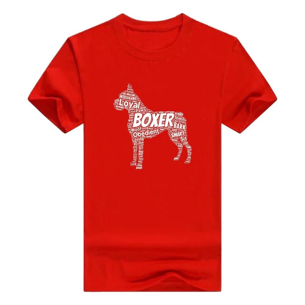 Custom Printed T Shirts Boxer Word Art Dog Puppy Owner Gift Short Sleeve Mens T-Shirt O-Neck Men Short Cotton Shirts