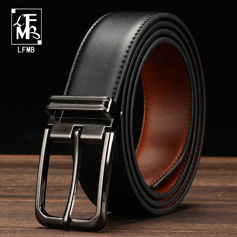 [LFMB]leather   belt   men designer   belts   men high quality male genuine leather strap pin buckle for jeans cinturon hombre
