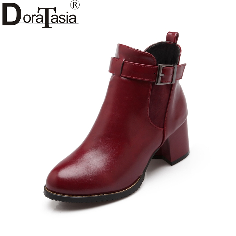 DoraTasia Big Size 31 48 Women Ankle Boots Vintage Buckle Belt Chunky Heels Rubber Sile Winter Fur Shoes Woman Motorcycle Boots