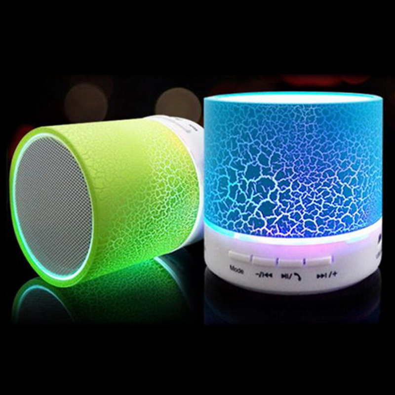 New colorful Column Gift led Mini Wireless Portable Bluetooth Speaker TF USB Music Sound Box Loudspeakers For iPhone with Mic