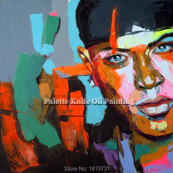 Palette knife portrait Face Oil painting Character figure canva Hand painted Francoise Nielly wall Art picture for living room70