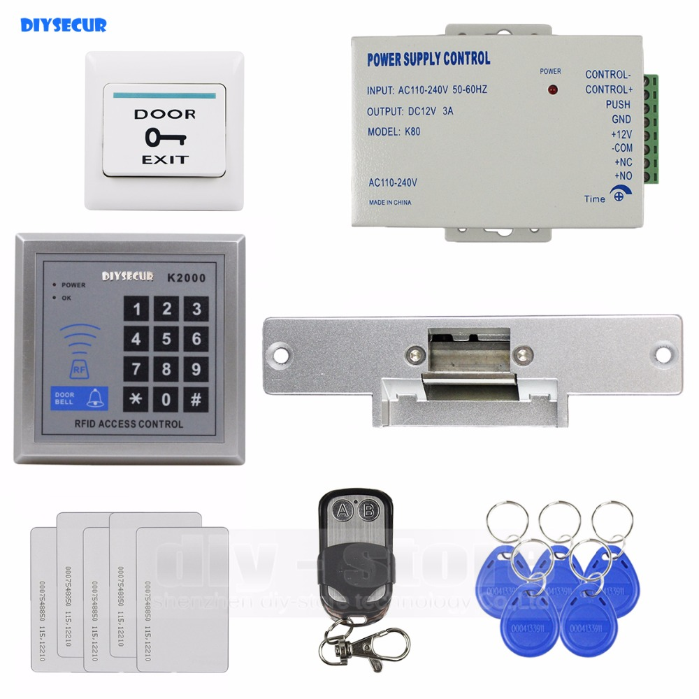 DIYSECUR Remote Control  RFID Reader Access Control System Full Kit Set + Electric Strike Door Lock + Power Supply K2000 diysecur 125khz rfid metal case keypad door access control security system kit electric strike lock power supply 7612