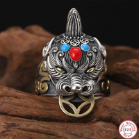2019 New Punk Adjustable Ring 100% 925 Sterling Silver Jewelry Men Inlaid turquoise Lucky God beast brave troops Statement Ring