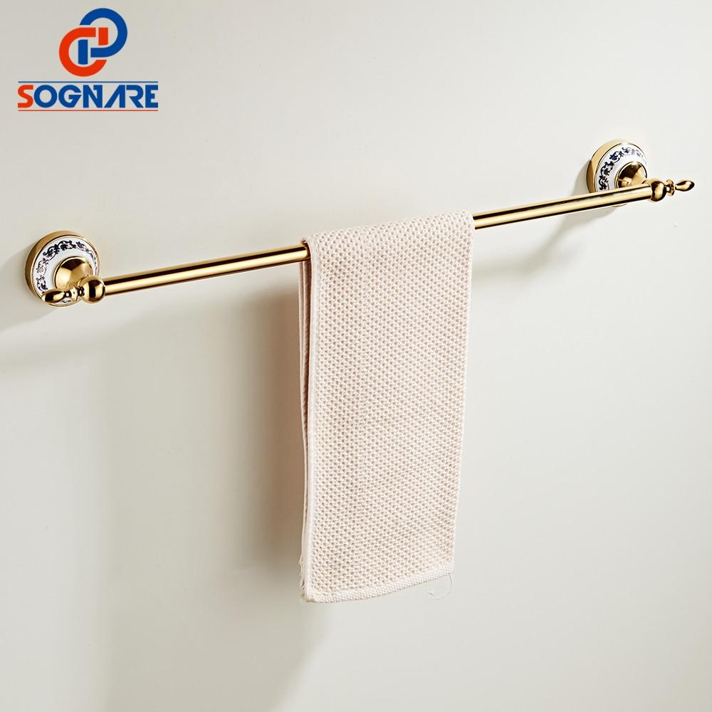 SOGNARE Towel Bars European Style Golden Solid Brass Towel Rail Single Towel Bar Bathroom Towel Holder Bathroom Accessories Set new arrivals european design towel ring brass bathroom towel holder towel bar bathroom accessories