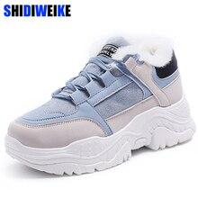 2020 sapatos inverno quente plataforma mulher botas de neve de pelúcia feminino casual tênis camurça do falso couro feminino botas de neve sapatos quentes pele