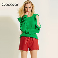Clocolor Women Sweater 2017 Round Neck Loose Pullover Green Knitwear Autumn Girls Top Fashion Modern Female