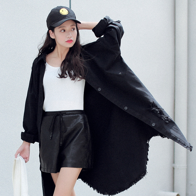 Plus Size Outono Casaco de Inverno 2016 Nova Moda Das Mulheres Do Vintage Magro Ocasional single-breasted longo-luva denim desgastado trench Coat