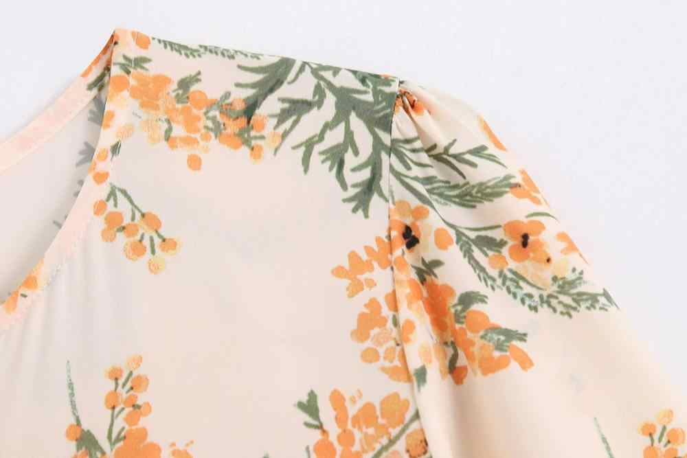 Women Summer Ruffles Floral Print Long Bohemian Flowr Dress Pleated Full Sleeve Za Dress for Girls