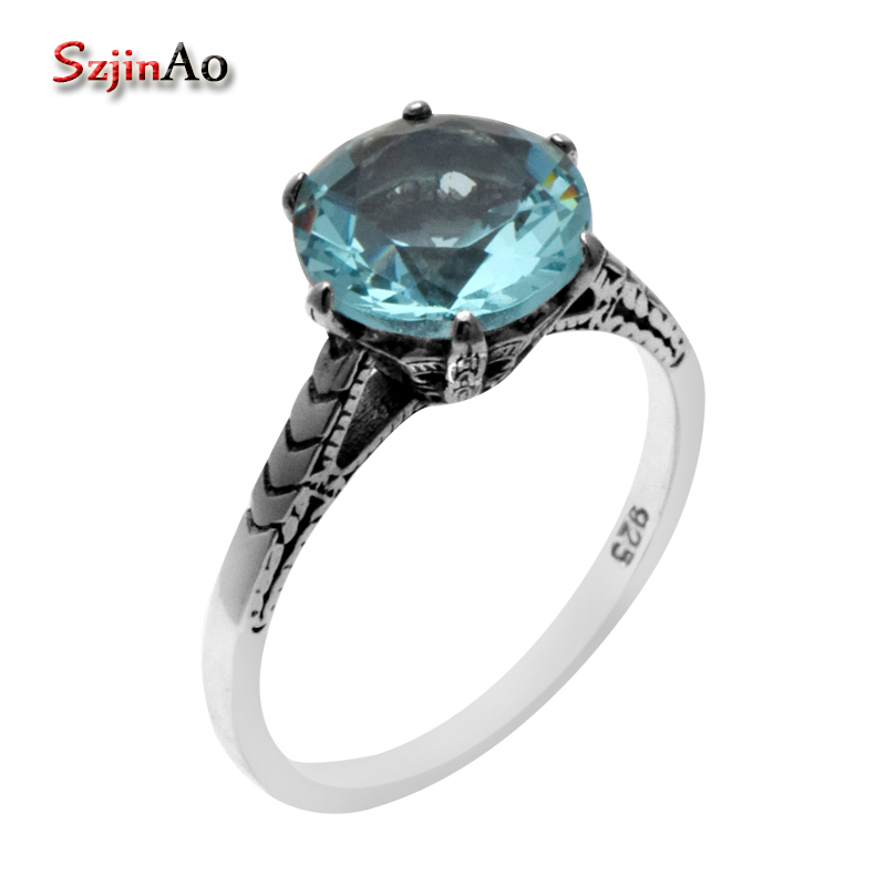 Szjinao wholesale Bohemian antique jewelry blue aquamarine ring 925 sterling silver wedding rings for women