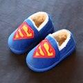 Размер 26-30 Зима Супермен Дети тапочки Мода удобные мальчики и девочки мультфильм теплый крытый тапочки детские дома обувь