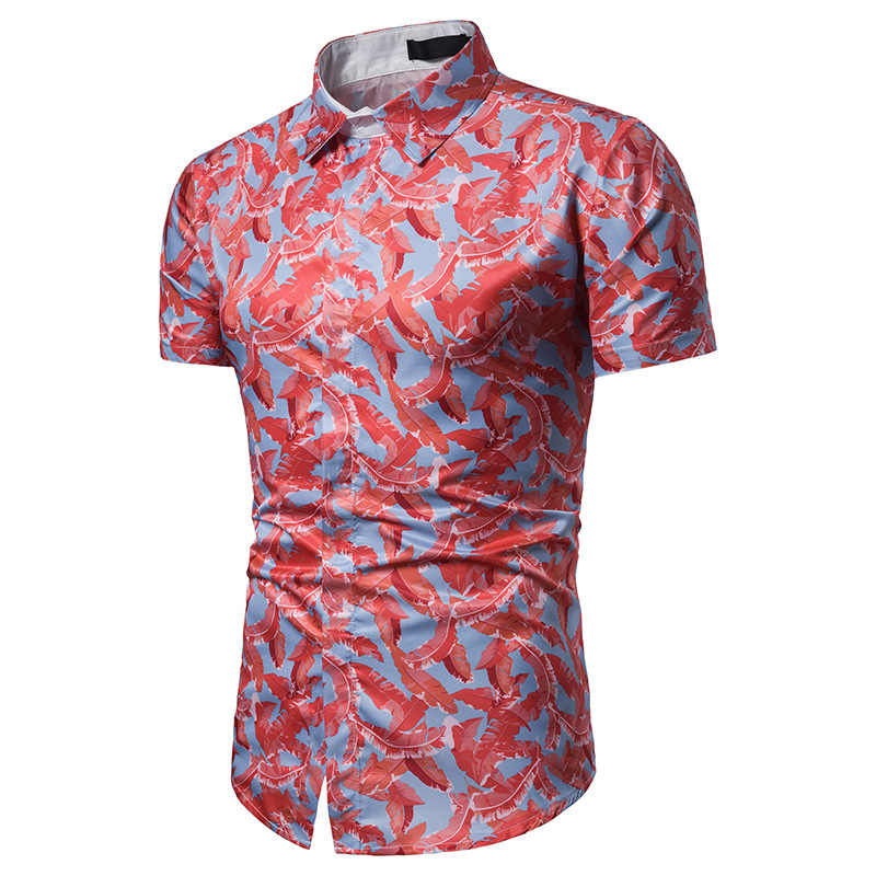 Новая летняя гавайская рубашка 2019, новые Брендовые мужские рубашки в цветах гавайская рубашка, Пляжная рубашка для выпускного вечера, мужская рубашка Camisa Masculina
