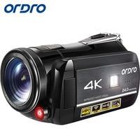 Ordro HDR AC 1 цифровой видео Камера DVR 4 К 120 FPS 720 P поддержка 0.39X Широкий Ангел объектива 5MP CMOS max 24mp Разрешение 3,0 дюймов DHL