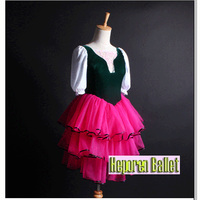 Spanish Dark Green Top Red Dress Classical Ballet Dance For Adult or Kids,Best Selling Stretch Beautiful flamenco Ballet Dress