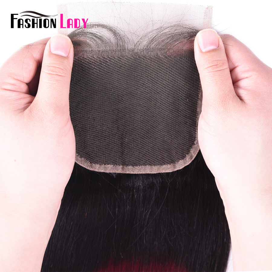 Image 5 - FASHION LADY Pre Colored Peruvian Human Hair Lace Closure Ombre T1B/99j 4x4 inch Straight Weave Closure Non remyclosure 4x4closure closureclosure body wave -