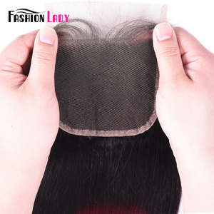 Image 5 - אופנה ליידי מראש בצבע פרואני שיער טבעי תחרה סגירת Ombre T1B/99j 4x4 inch ישר Weave סגירה ללא רמי