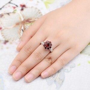 Image 2 - Hutang обручальные кольца с красным гранатом из стерлингового серебра 925 пробы, кольцо с натуральным драгоценным камнем, изящное элегантное ювелирное изделие для женщин, лучший подарок, Новинка