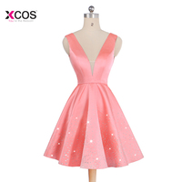 Short Homecoming Dresses 2018 New Coral V Neck Backless Beads Knee Length Graduation Junior Prom Party Dresses