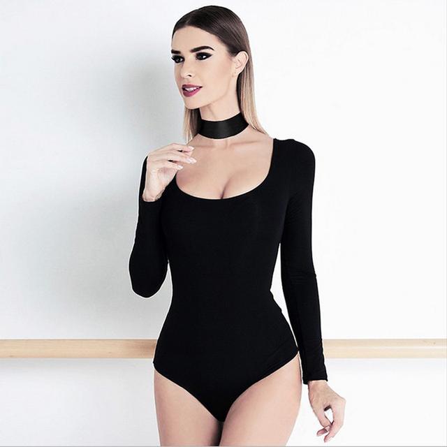 Primavera 2017 Moda Sexy Preto Bandage Bodysuits Para As Mulheres de Baixo Do Pescoço Halter Macacões de Manga Longa Encabeça Sexy Clube Partido Panos
