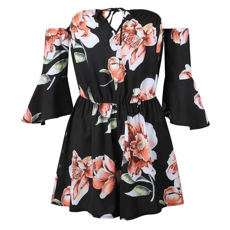 Богемный стильный халат цветочный принт сексуальный комбинезон короткий комбинезон Топ Macacao Feminino Женская одежда повседневный летний пляжный комбинезон