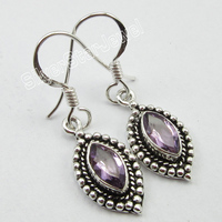 Old Style Sterling Silver MARQUISE PURPLE AMETHYST OXIDIZED Earrings 3 2 CM