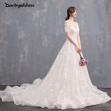 Champagne Lace Flower Embroidery Wedding Dresses Scoop Neck Short Sleeve Luxury Wedding Gown 2018 Sexy Backless