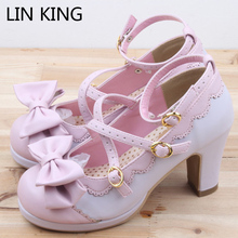 LIN KING Новые весенние туфли в стиле Лолита для девушек удобные туфли с бантиком и с перекрестными ремешками водонепроницаемые туфли на высоком каблуке маскарадные женские туфли