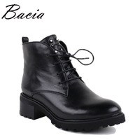 Bacia Handmade Genuine Leather Ankle Boots Women Black Zipper Round Toe Lace Up Shoes Botas Short