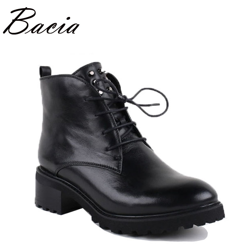 Bacia Handmade Genuine Leather Ankle Boots Women Black Zipper Round Toe Lace-Up Shoes Botas Short Plush Warm Winter Boots VB007 mens autumn winter round toe martin boots black genuine leather ankle plush short boots for men casual flat lace up cotton shoes