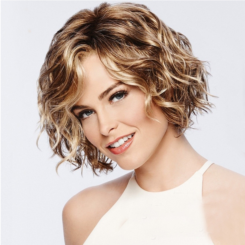 28cm Lady Short Curly Hair Synthetic Lace Wig Bronze Gold Lace Front Wig With Hairnet For Women European Hair Styling Tool(China)