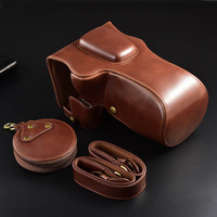 Black Brown DSLR Camera Case for Canon EOS 77D 800D Luxury PU Leather Body Cover Carrying Travel DSLR Camera Lens Case Bag