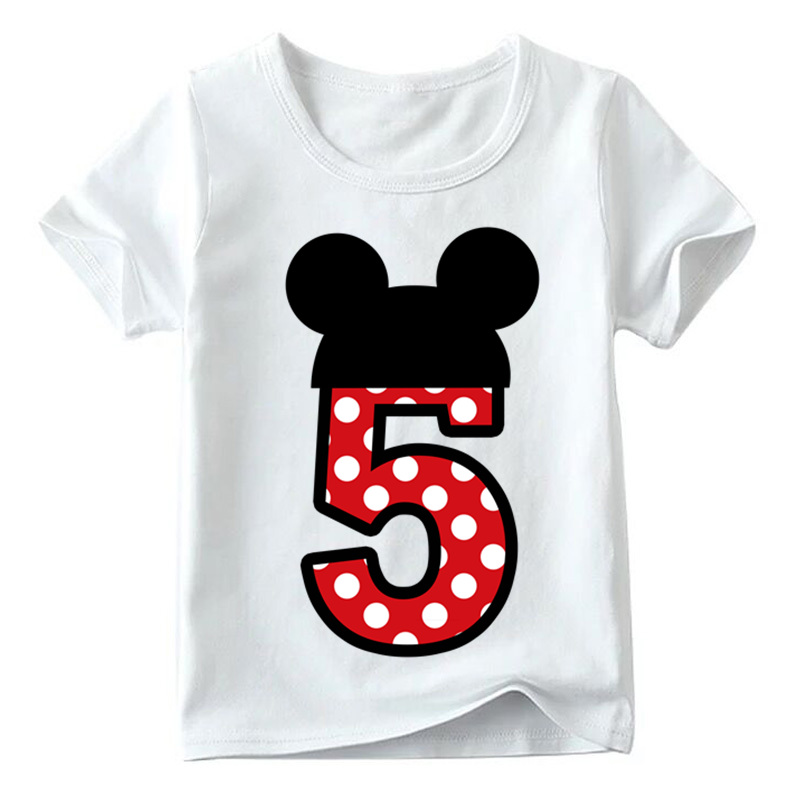 Baby Boys/Girls Happy Birthday Letter Bow Cute Print Clothes Children Funny T shirt,Kids Number 1-9 Birthday Present,HKP2416 20