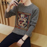 Fashion Personality Chinese Embroidery Mens Sweater O Neck Large Size M 5XL Knitted Sweater Pullover Casual