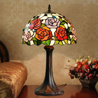 Art Deco Decorative Elephant Stained Glass Edison Bedside Vintage Table Lamp Light 220V For Living Room Bedroom Lamp For Table
