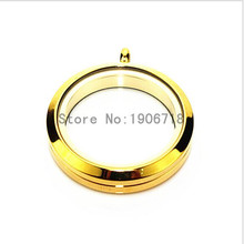 Newest Gold Stainless Steel 30mm Screw Floating Locket Glass Memory Locket 3pcs/lot