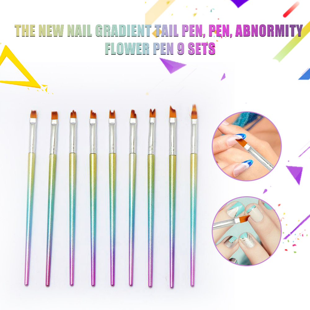 9pc Mermaid Fish Tail Nail Art Brushes Gel Polish Flower Painting Pens Oblique French Manicure Set Gradient Shading Tools New