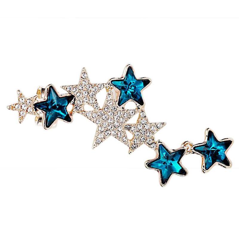 Fashion women Earring Pentagon Star Left Ear Clip Crystal Earring Occident Style Golden+Blue