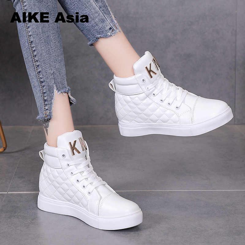 Casual High-top Shoes Fashion Lace-Up Flats White Winter  Platform Women's Zapatos De Mujer Sneakers Women Tenis Feminino