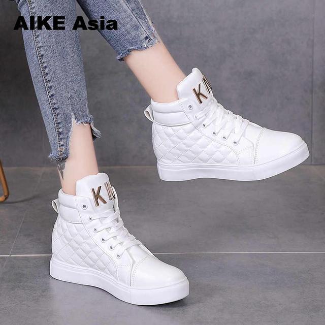 Rahat yüksek top ayakkabı moda dantel-Up Flats beyaz kış platformu kadın Zapatos De Mujer Sneakers kadınlar tenis Feminino