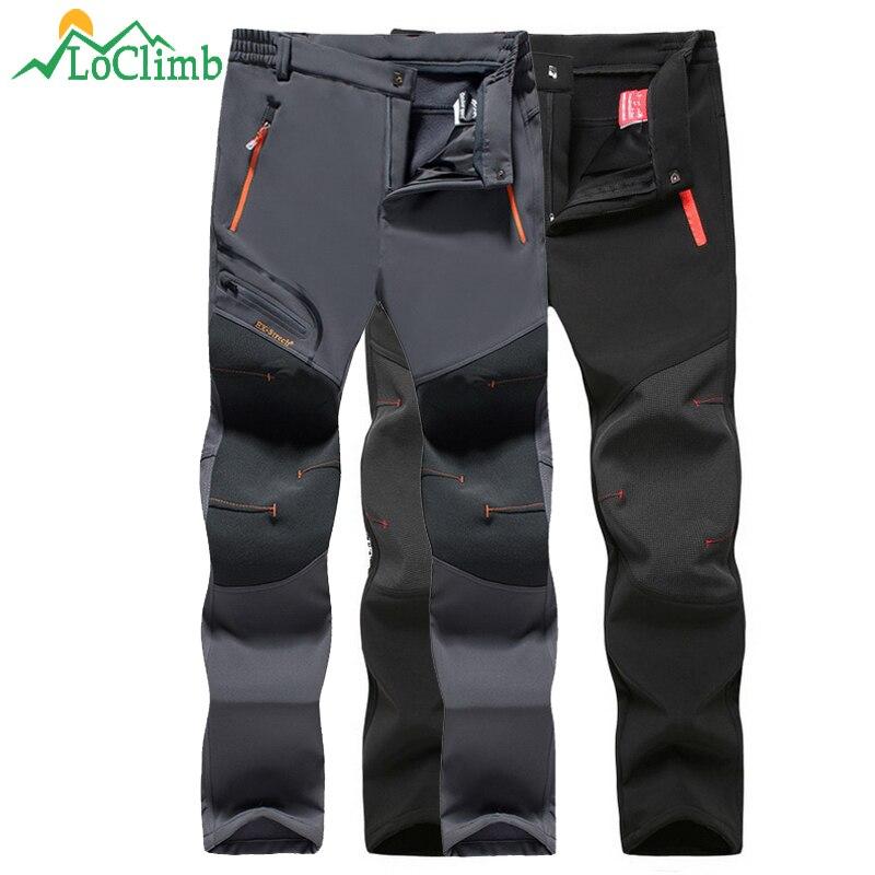 купить LoClimb Winter Camping Hiking Pants Men Women Waterproof Windproof Fleece Softshell Trousers Outdoor Trekking Ski Pants AM205 недорого