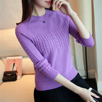 2017 Autumn New College Wind Hemp Tulips Sweater Women Sweater Round Neck Long Sleeve Tapping Shirt