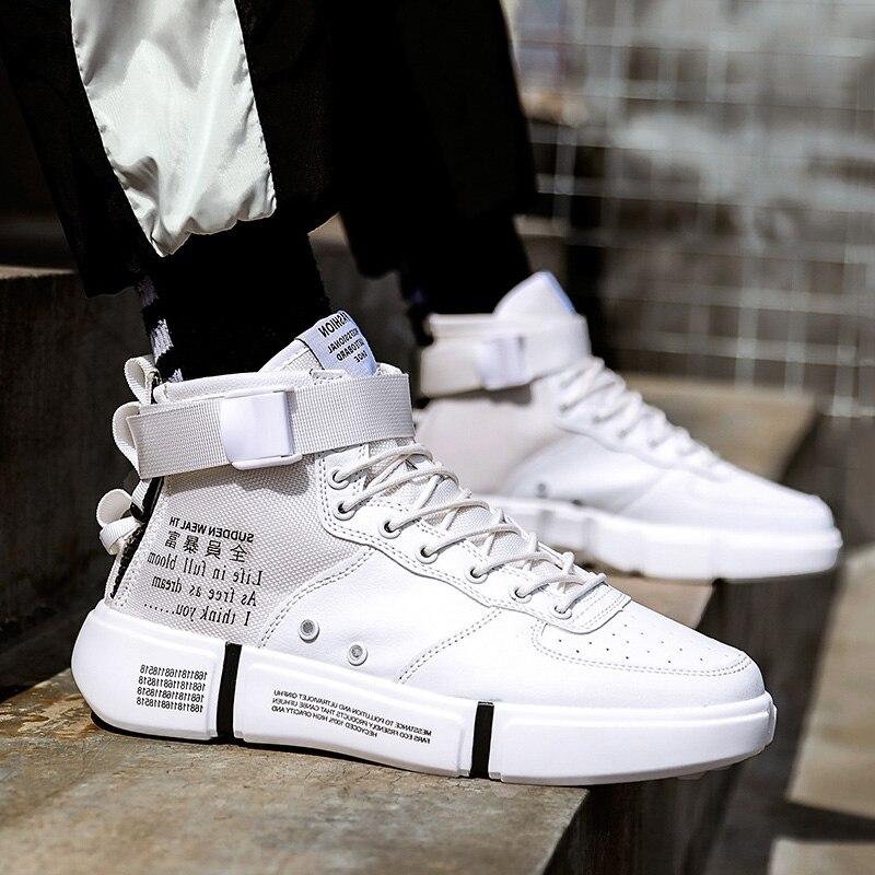 Autumn High Top Sneakers Men Casual Shoes Lace-up Men Sneakers Breathable White Shoes Fashion Men Shoes Trainers Zapatos Hombre zapatillas de moda 2019 hombre