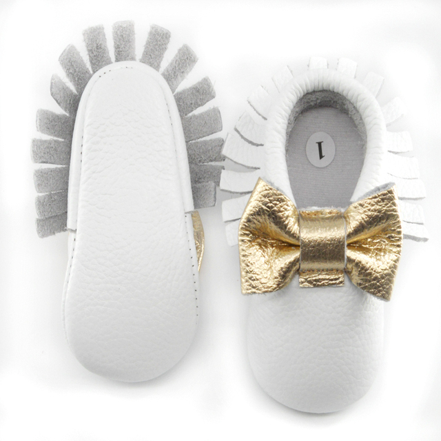 New Genuine Leather Baby moccasins gold bow First Walkers Soft gold bow-knot Baby shoes Toddler Infant Fringe Shoes