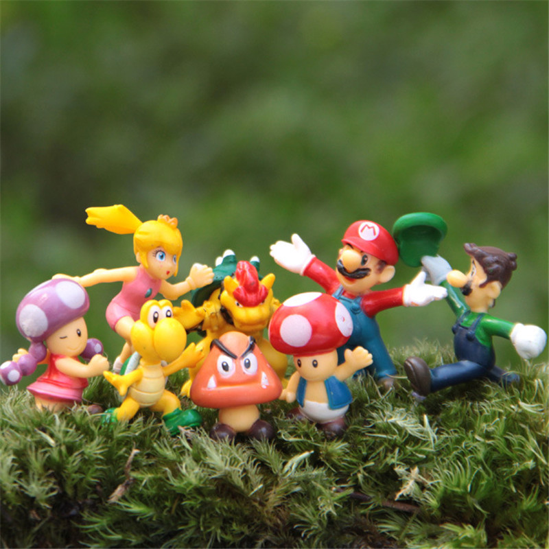 8pcs/set 3-4cm Cute Anime Super Mario Bros Mini Action Figures Mario & Luigi Koopa Resin Action Figures Toys Baby Toy Gift newest 18pcs set super wings mini figures toys superwings jett airplane robot action figures birthday gift for kid brinquedos