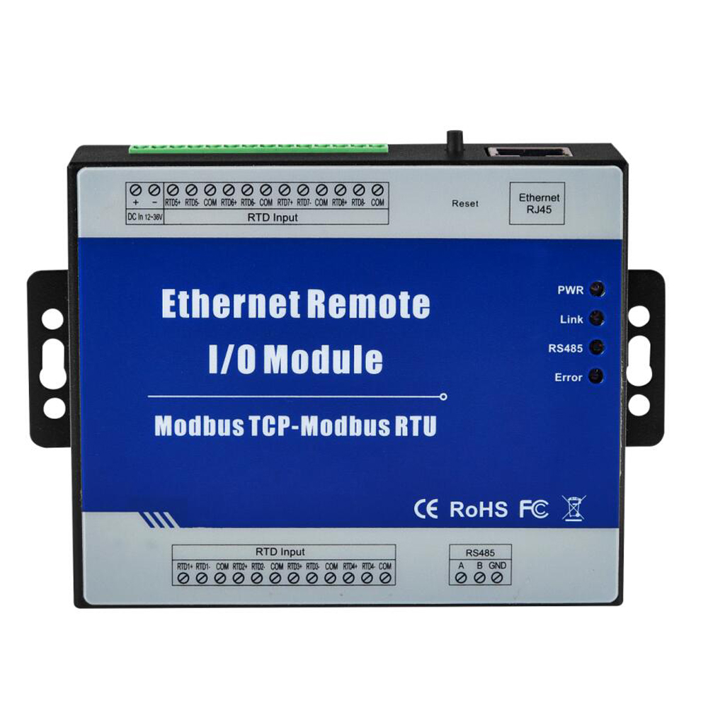 LAN Ethernet Data Acquisition Module 4 RTD Inputs Supports PT100 or PT1000 Resistance Sensor Modbus RTU Meters